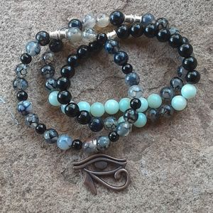 Jewelry - Amazonite Black Obsidian Combo Healing Set